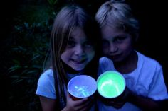 Glow in the dark drinks!  A glass with a glowstick and a glass inside it with the drink!