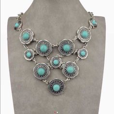 ‼️SALE‼️PRICE DROP‼️ ‼️SALE ‼️Beautiful turquoise and silver statement necklace. Wonderful accent piece. Only one available Jewelry Necklaces