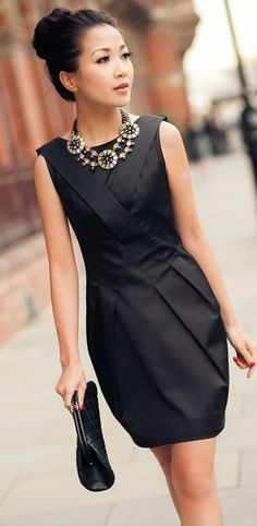 Classic LBD, Stella & Dot Estate Bib statement necklace. #stelladot #jewelry & black bridesmaid dress