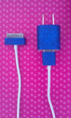Dark Blue Glitter iPhone Charger. $11.00, via Etsy.