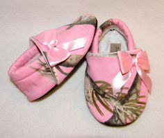 2fe98523e226f Dressy Camo, baby girl shoes, pink Realtree camo, baby slipper, baby shoes