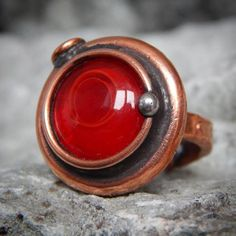 Unique handmade red ring, made of copper and stained glass. You can see more here: https://www.etsy.com/listing/473711906/handmade-ring-red-magic-ring-copper-ring?ref=shop_home_active_13  #handmade #handcrafted #ring #red #rose #steampunkfashion #steampunk #vintagestyle #vintage #original #gift #unique #present #jewelry #forgirls #instagift #instacool #instagood  #beautiful #accessory #copper #glass #redflower #magic #fantasy #nebula #borninstone