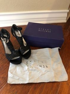 b4647b12d64 Stuart Weitzman Loverly Black Glitter Open Toe Pump Sandal Heels Party Shoes  7.5  fashion