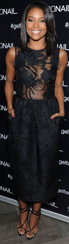 Gabrielle Union is sheer perfection in this black midi dress! (insert winky  emoji with tongue out)