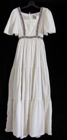 Vtg 1970s Lanz Free Spirit Boho Hippie People Gauze Gypsy Apron Maxi Dress S   eBay