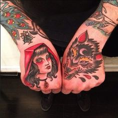 ~ New Traditional tattoo ~ little red riding hood and wolf  in hands by Dave Ball