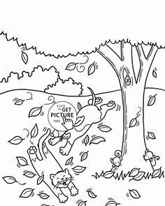 Funny Autumn Day Coloring Pages For Kids Fall Leaves Printables Free