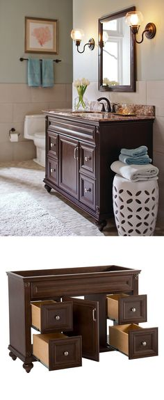 The Annakin Vanity Collection creates an upscale look with the rich cognac finish that highlights the beauty of the wood. Four large drawers with brushed nickel hardware provides plenty of storage for all your bath essentials.
