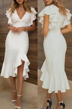 MACloth Short Sleeves with Ruffled Midi Cocktail Party Dress Ivory Wedding Party Dress Simple Dresses, Elegant Dresses, Pretty Dresses, Formal Dresses, Evening Outfits, Evening Dresses, Summer Dresses, Mode Outfits, Dress Outfits