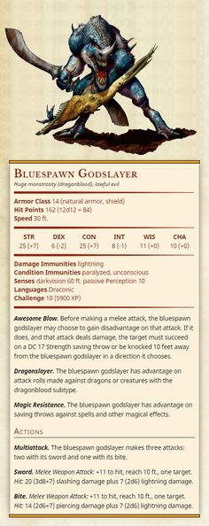 Third Edition D&D monsters converted to Fifth Edition. Dnd Dragons, Dungeons And Dragons 5e, Dungeons And Dragons Homebrew, Cool Monsters, Dnd Monsters, Fantasy Weapons, Fantasy Rpg, Magical Creatures, Fantasy Creatures