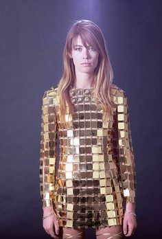 wildflower Francoise Hardy in a disco ball inspired mini gold dress // be a Wildflower: lifestyle, design, and wedding inspiration by The Wildflowers on Instagram @ thewildflowers_com