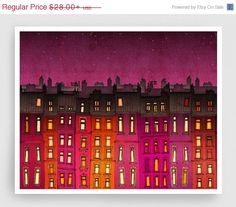 20% OFF SALE: Paris red facade (landscape) - Paris illustration Fine Art Prints Posters Home decor Wall decor Gift ideas for her Living room