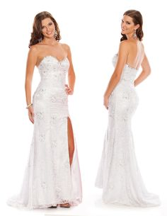 White A-Line Sweetheart Floor Length Zipper Prom Dresses With Sequined and Lace