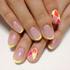 Bright neon-like French Nail Art in yellow and on the ring finger orange and red ♡