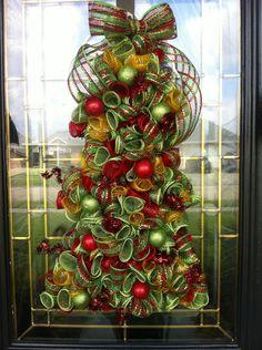 Christmas Wreath Deco Mesh Curly Christmas Tree. $55.00, via Etsy.