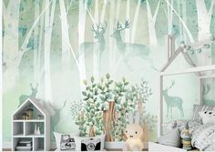 Hand Painted Green Backgroud Trees Nursery Wallpaper Wall Mural Trees with Abstract Elks Kids Children Wall Mural Plant Wallpaper, Nursery Wallpaper, Pink Toddler Rooms, Kids Rooms, Rainforest Plants, Open Wall, Cleaning Walls, Baby Room Design, Make Design