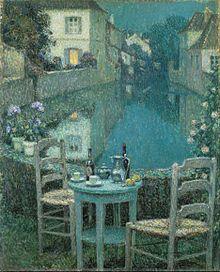 Henri Le Sidaner. Une petite Table au crépuscule (1921), Kurashiki, musée d'art Ohara.