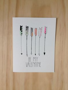 Be My Valentine Arrow Card. $4.50, via Etsy.
