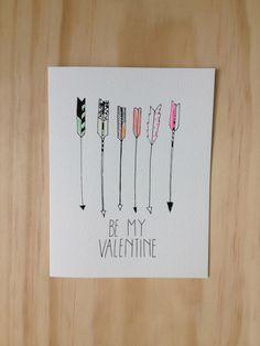 Be My Valentine Arrow Card. $4.50, via Etsy.