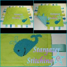 """Customized Taggie Blanket: Whale ~Size: approx. 12"""" x 12""""  ~Fabric: Cotton (front), Minky (back)"""