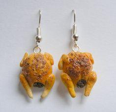 Food Jewelry, Roast Turkey Earrings, Miniature Food Jewelry, Christmas Earrings, Mini Food Jewelry, Easter Earrings, Thanksgiving earrings