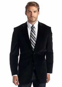 Saddlebred  Classic Fit Black Corduroy Sport Coat