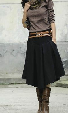 I don't know if this would look good on me, but I like how the skirt is flat fronted until lower on the hips. Thicker winter material I'm guessing.