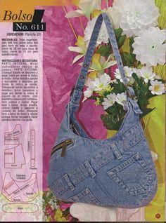 A neat design for a jeans bag - Picasa Web Albums Jean Crafts, Denim Crafts, Jean Purses, Purses And Bags, Sacs Tote Bags, Denim Purse, Purse Patterns, Doily Patterns, Clothes Patterns
