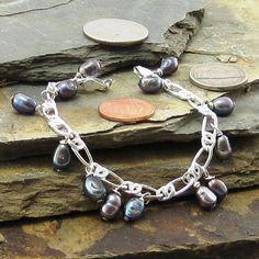 Multi-Color Hue Freshwater Pearl Bracelet with a Metallic Look, Sterling Silver Bracelet Gift for Her, Lobster Claw Clasp Elegant Bracelet