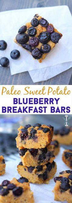 Paleo - A moist and crumbly sweet potato bar topped with juicy baked blueberries make these on the go breakfast bars the perfect healthy morning treat! Gluten-free, dairy-free, and paleo! It's The Best Selling Book For Getting Started With Paleo Almond Recipes, Paleo Recipes, Whole Food Recipes, Sweet Recipes, Budget Recipes, Drink Recipes, Blueberry Breakfast, Breakfast Recipes, Blueberry Bars