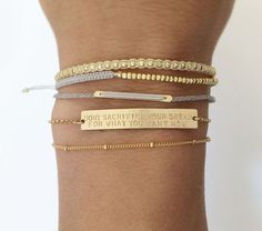 Personalized Gold Bar Bracelet / 14k Inspiration or Name Bar Stacking Bracelet /...