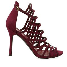 Sylvia-11W Wine Caged Single Sole High Heels