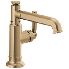 Brizo 65076LF-GL Luxe Gold Invari 1.5 GPM Single Hole Bathroom Faucet Less Drain Assembly - Limited Lifetime Warranty Bar Faucets, Lavatory Faucet, Bathroom Sink Faucets, Gold Faucet, Custom Shower, Body Spray, Shower Tub, Bathroom Ideas, Eco Bathroom