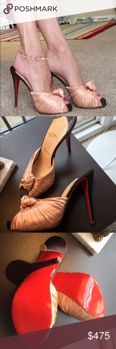 CHRISTIAN LOUBOUTIN SHIRRED SATIN STILETTO MULE 40 Beautiful satin slip on sandals with sexy stiletto heels. Excellent condition. Includes sleeper bag, no box. Christian Louboutin Shoes Mules & Clogs