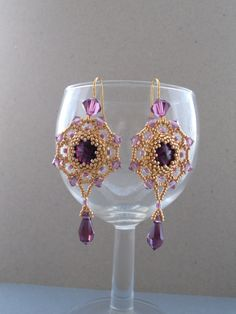 Golden+beaded+earrings+with+Swarovski+elements.+by+AfinaBeads,+€30.00