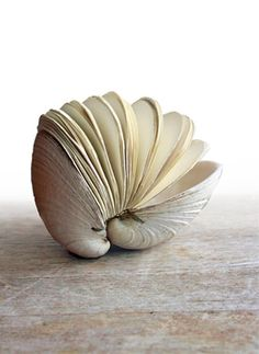 hand stitched clam shell book sculpture by Odelae  Etsy