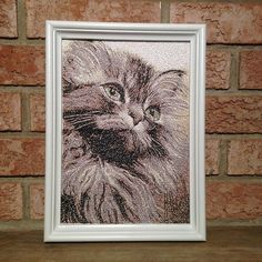 """Embroidered painting """"Fluffy"""" - Gift for cat lover - Mother's Day gift - Gift for teacher - Birthday gift - Textile wall art - Photo gift"""