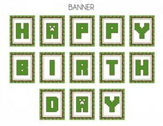 Free Minecraft Printable Happy Birthday Banner | CatchMyParty.com