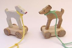 wooden miniature pull-toys by Lilly Piri