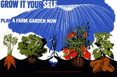 """This WWII poster for the U.S. Department of Agriculture was used to promote victory gardens. It reads, """"Grow It Yourself. Plan a Farm Garden Now. Rural Electrification Administration, U.S. Department of Agriculture."""" Illustrated by Herbert Bayer, circa 1942."""