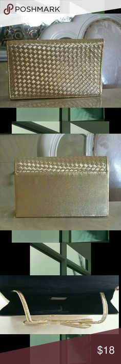 Evening Bag, Gold , small Evening Bag, Gold, braided front design,  neat look Bags Clutches & Wristlets