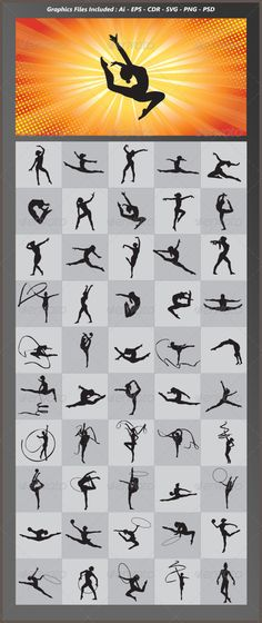 Gymnastic Silhouettes  #GraphicRiver         Nice and detail vector. In this files include AI and EPS versions. You can open it with Adobe Illustrator CS and other vector supporting applications.