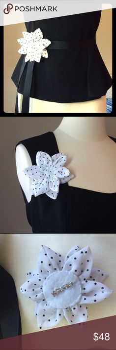 "Darling chiffon fabric pin-dot flower brooch/belt Here is another favorite flower accessory! This cute brooch pin is made of white chiffon fabric with black pin-dots. Comes with  a black 70"" grosgrain sash. Buyer has an option of white if preferred. Please message me if you would like white instead of black. Can be worn a variety of ways! Lovingly hand made by my sweet and talented Mother-in-law. Non smoking home. Sew Rin Accessories Belts"