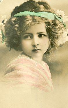 Vintage girl photo, studio child model. What a little beauty!