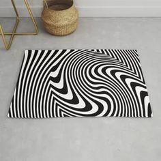 Optical Illusion Op Art Black And White Rug Black And White Carpet, White Rug, Black N White, American Flag Stars, Op Art, Optical Illusions, Animal Print Rug, Room Ideas, Stripes