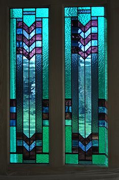 Stained Glass art deco door panels