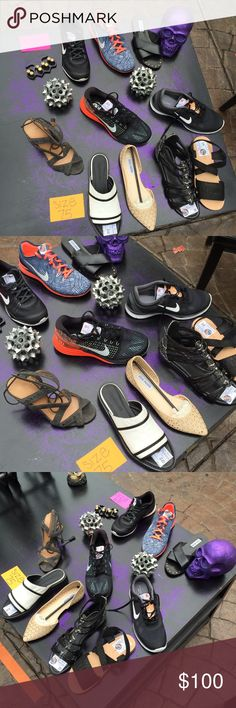 Size 6.5 + Size 7.5 NEW SHOES ALL SIZE 6.5 NEW SHOES Left top to bottom : NIKE b+ w training shoes $80 NIKE free tr fit 5 blue/white/coral $90 Steve Madden Black flats $30  ALL SIZE 7.5 NEW SHOES Left top to bottom : Alexa Wagner grey heels $250 NIKE orange lunarlon shoes $110 NIKE b + w training shoes $ 80 Helmet Lang b + w sandals $210 Steve Madden beige cut out flats $22 Marc Fisher black +snake skin gladiators $70 Jeffery Campbell black snake skin gladiators $65 Prior to offer : comment…