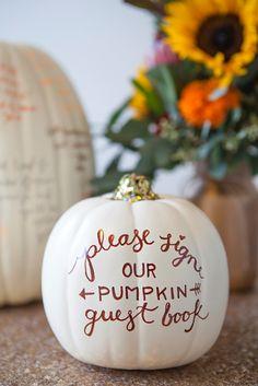 "DIY Wedding // Make a ""faux"" pumpkin guest book for your fall wedding!"