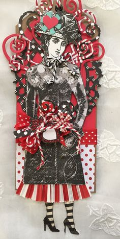 Valentine, Paper Doll, Art Tag, Mixed Media, Character Constructions, Amour