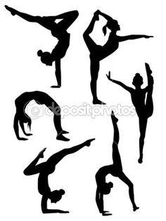 meisjes gymnasten silhouetten — Stockvector  #10761944